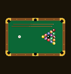 pixel art green billiard table with colorful balls vector image vector image