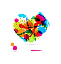 Abstract Colorful Heart Made From Splashes Blots vector image