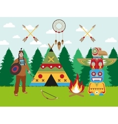 American indian landscape warrior wigwam and vector image vector image