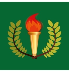 burning torch olympic games emblem vector image