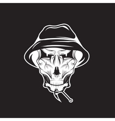 fishing club emblem with skull in panama hat vector image