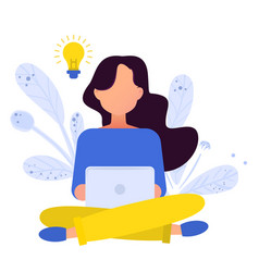 flat girl working with laptop vector image