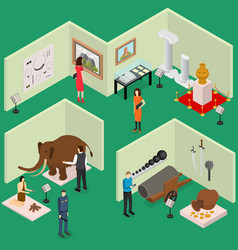interior museum exhibits galleries isometric view vector image vector image