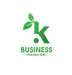 letter k with leaf logo vector image vector image