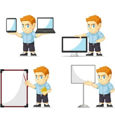 Red Head Boy Customizable Mascot 20 vector image vector image