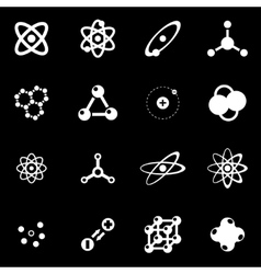 white atom icon set vector image vector image