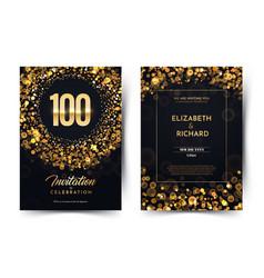 100th years birthday black paper luxury vector image