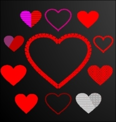 11 heart backround black vector