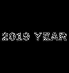 2019 year text in polygonal mesh style vector image