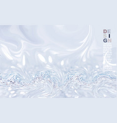 Abstract mixed gray blue acrylic paint waves vector