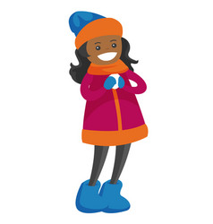 african-american girl holding a little snowball vector image