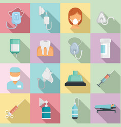 Anesthesia icons set flat style vector