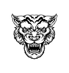 Angry tiger head silhouette vector