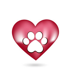 animal paw and heart icon vector image