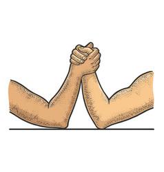 Arm wrestler hands sketch vector