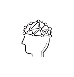 artificial intelligence brain hand drawn outline vector image