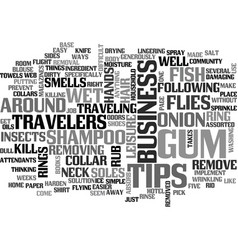 Assorted tips for business travelers text word vector
