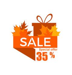 autumn sale a discount 35 percent ribbon vector image