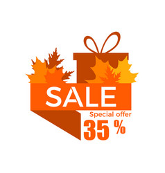 autumn sale a discount of 35 percent ribbon with vector image