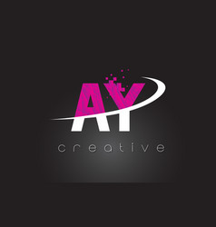 Ay a y creative letters design with white pink vector