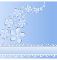 background card with paper flowers and stripes vector image