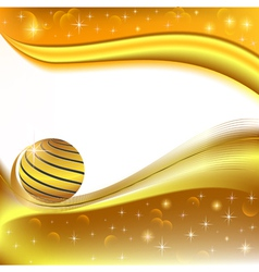 Background with golden ball and the wave vector