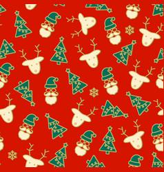 beautiful christmas red seamless pattern deer vector image