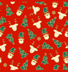 beautiful christmas seamless pattern deer vector image
