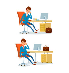 business affairs of businessman working in office vector image