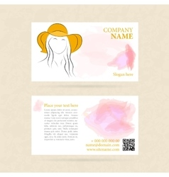 Business card woman in summer nat vector image