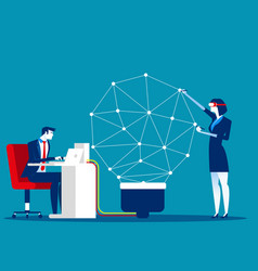 Business team to connect dots and create vector