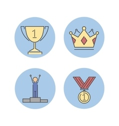 Business winner success icons vector image