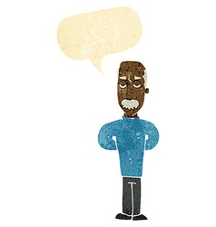 Cartoon annoyed balding man with speech bubble vector