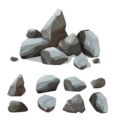 Cartoon mountain stones rocky big wall from vector