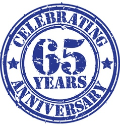 Celebrating 65 years anniversary grunge rubber st vector