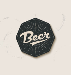 Coaster for beer with hand drawn lettering beer vector