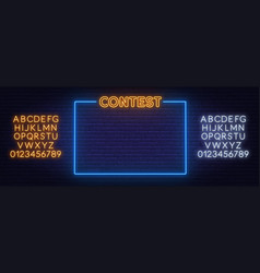 Contest neon text in frame on brick wall vector