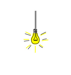 continuous line yellow light bulb idea concept vector image