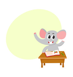 cute little elephant student character sitting at vector image