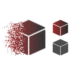 Damaged dot halftone cube icon vector