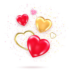 Decorative element with shiny 3d hearts golden vector