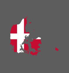 Denmark flag and map vector