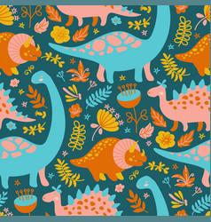 dino textile grunge prehistoric animals seamless p vector image