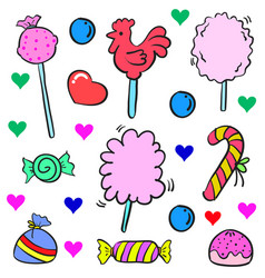 Doodle of candy colorful design cute vector