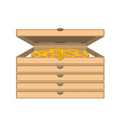 Drawing boxes of pizza on vector