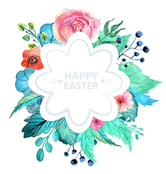 Easter watercolor natural with flower sticker vector