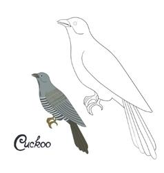 Educational game coloring book cuckoo bird vector