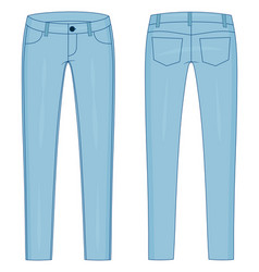 Fashion technical colored sketch jeans in vector