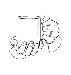 Female hand holding a cup with hot beverage vector