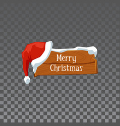 festive wooden sign board with words merry vector image